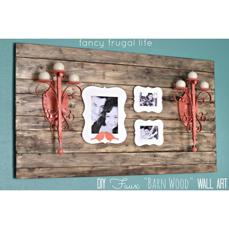 Fancy Frugal Life made this DIY barnwood wall art with family photos and two refurbished wall sconces