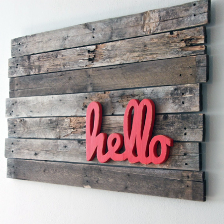 The Winthrop Chronicles made this DIY pallet wall art with some wood stain and crafty wood letters