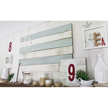 The Lettered Cottage made this pastel pallet flag that fits in perfectly with this coastal decor