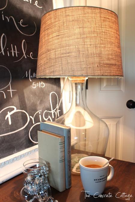 The Concrete Cottage...Glass Bottle Lamp DIY