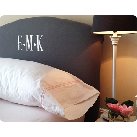 My Dear Irene...Pottery Barn Inspired Headboard with Embroidered Monogram