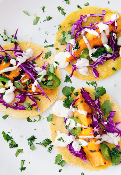 A House in the Hills...Grilled Sweet Potato Tacos with Lime Crema