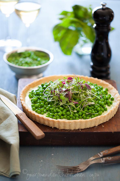 Gourmande in the Kitchen...Pea and Herbed Goat Cheese Tart