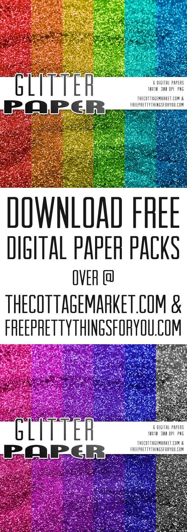 Free Digital Glitter Scrapbooking Paper Packs