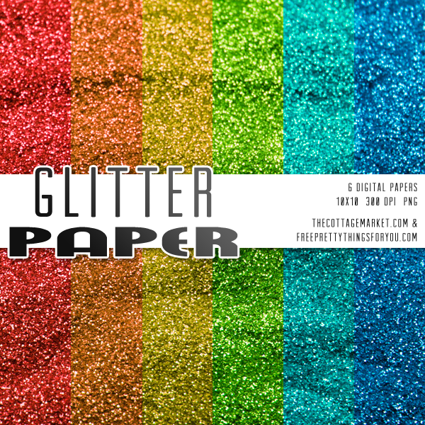 Primary Color Glitter Scrapbooking Paper Pack