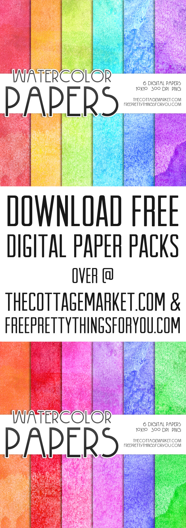 Free Watercolor Digital Paper Pack 1 The Cottage Market