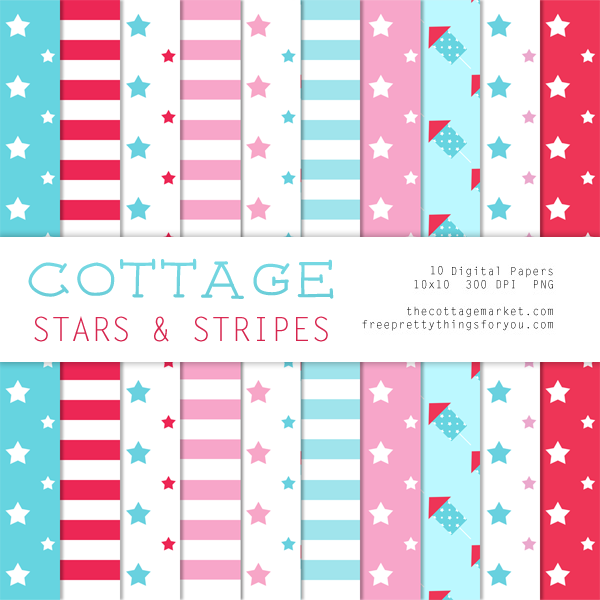 Free Digital Scrapbooking Cottage Stars & Stripes Digital Paper Pack