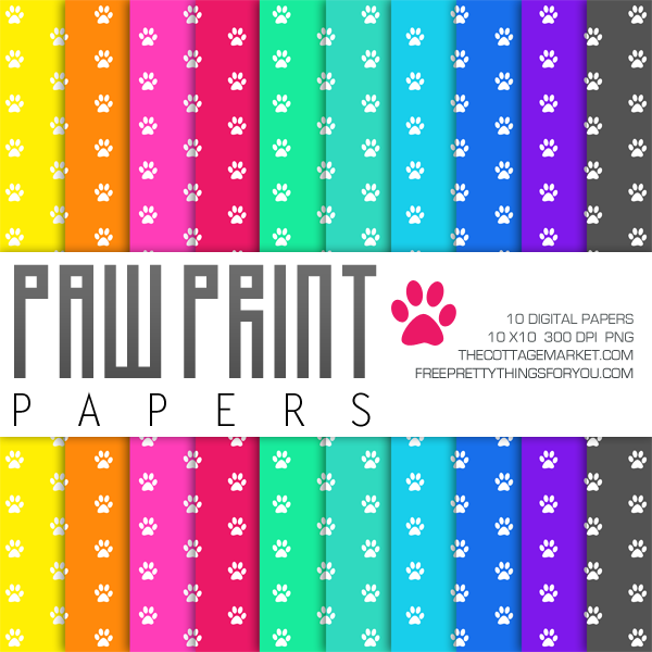 Free Paw Print Digital Paper Pack Part 1