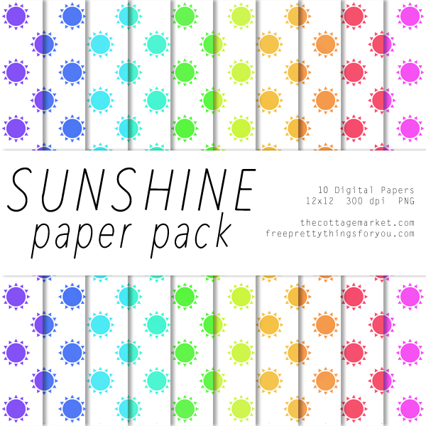FREE You are my Sunshine Digital Scrapbooking Paper Pack