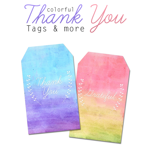 photograph relating to Thank You Tag Free Printable named Absolutely free Printable Watercolor Thank By yourself Tags - The Cottage Market place