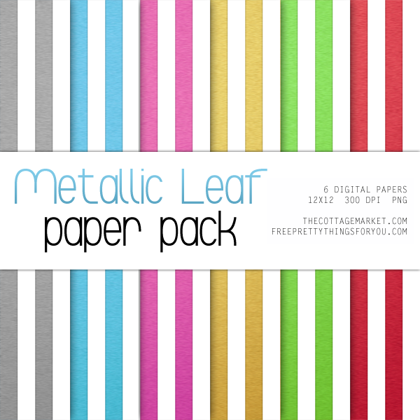 Free Digital Scrapbooking Paper featuring Metallic Leaf Stripes & Dots