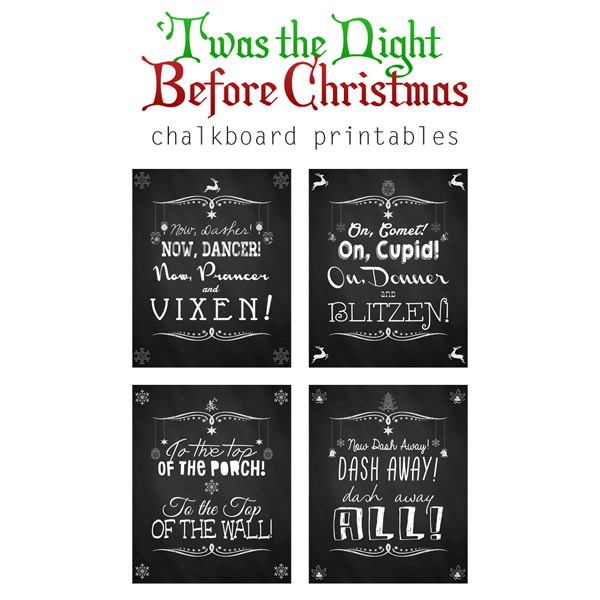 Free Christmas Chalkboard Printable Set