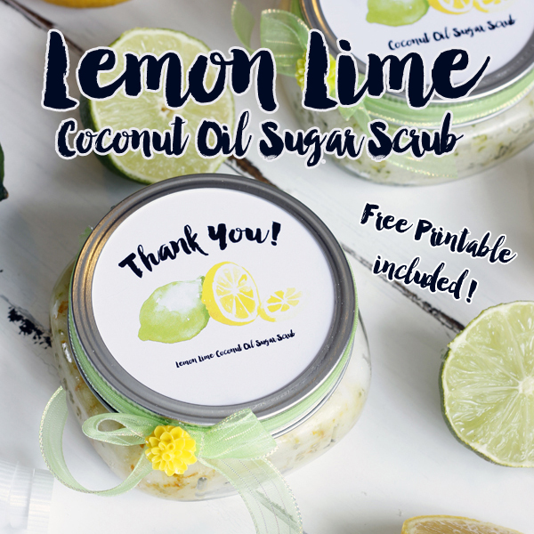 DIY Coconut Lemon Lime Sugar Scrub w/ Free Printables {Great Wedding Favor}