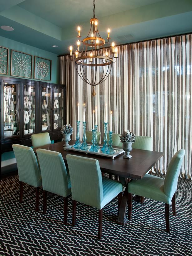This Dining Room Uses Aqua On The Walls And Chairs While Other Colors Like
