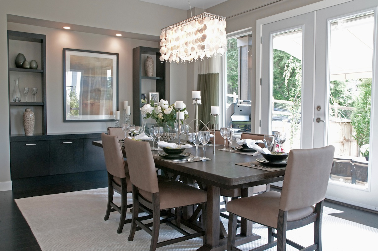 50 shades of grey home decor the cottage market for Dark grey dining room