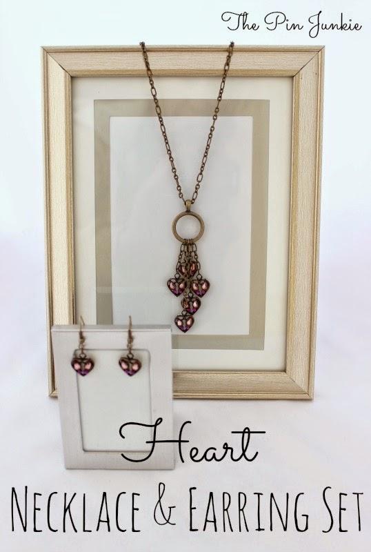 heart necklace earring set