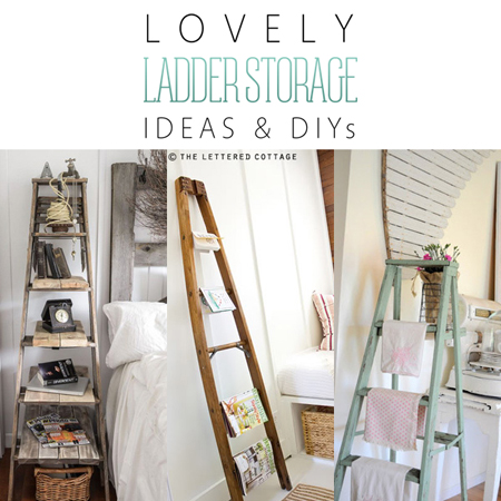 Lovely Ladder Storage Ideas & DIY's