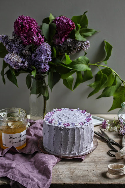 lemon and lilac vertical roll cake-6