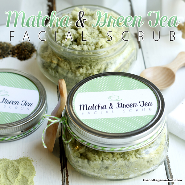 DIY Matcha and Green Tea Facial Scrub with Free Printable
