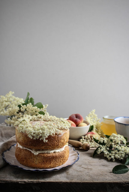 elderflower drizzle cake with peaches-25