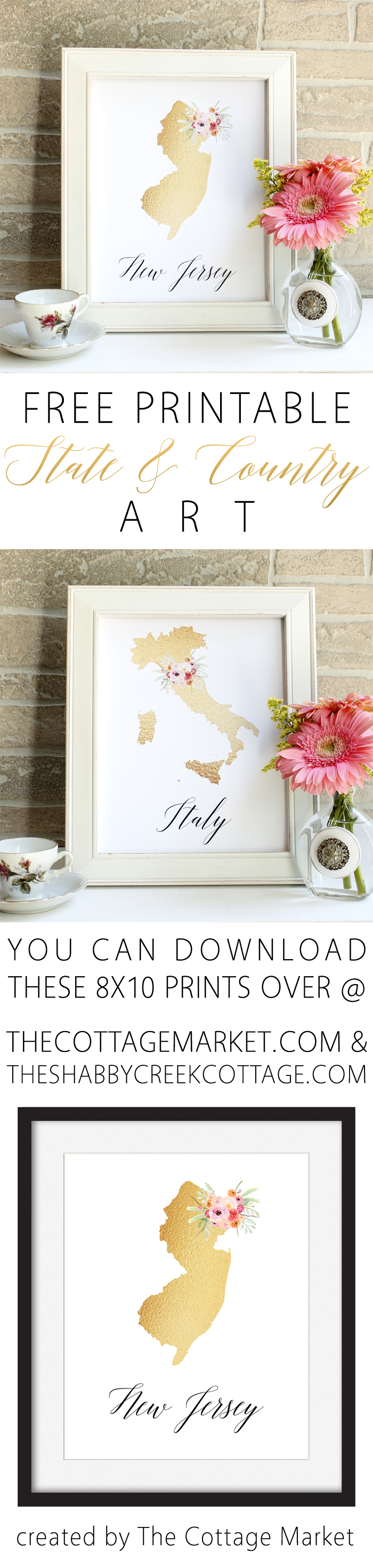 Use these free state and country printables to add a piece of home to your decor.