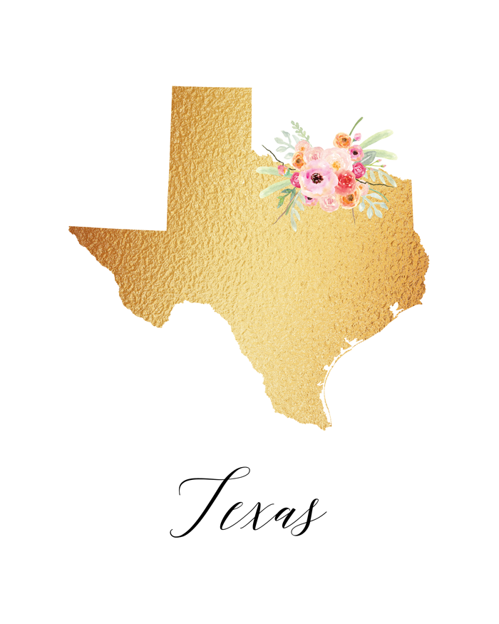 These free printable of the state of Texas would make cute decor for any space.