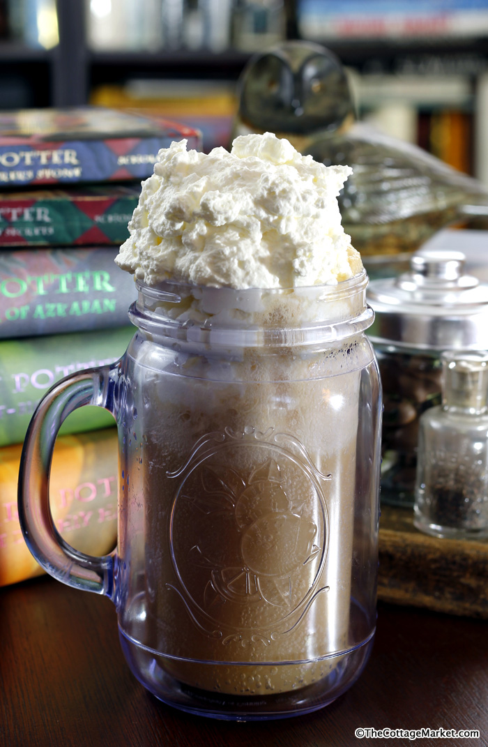 Serve this butterbeer ice cream float in a mason jar for the extra magical effect!