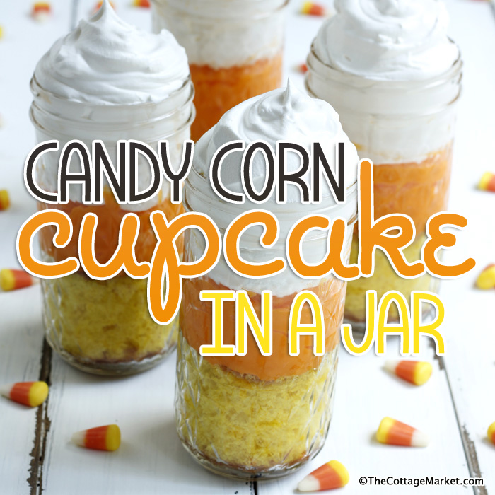 Candy Corn Cupcakes in a Jar