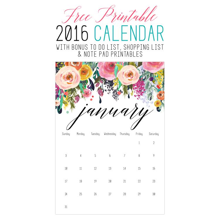 Free Printable 2016 Calendar /// with Bonus Free To Do List, Shopping List & Note Pad Printables