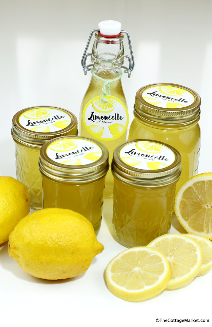 Homemade limoncello packaged in mason jars with cute labels make great gifts.