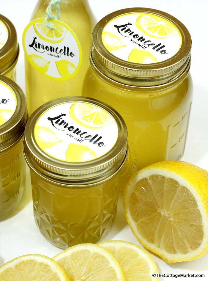 These mason jars filled with homemade limoncello are bright and inviting.