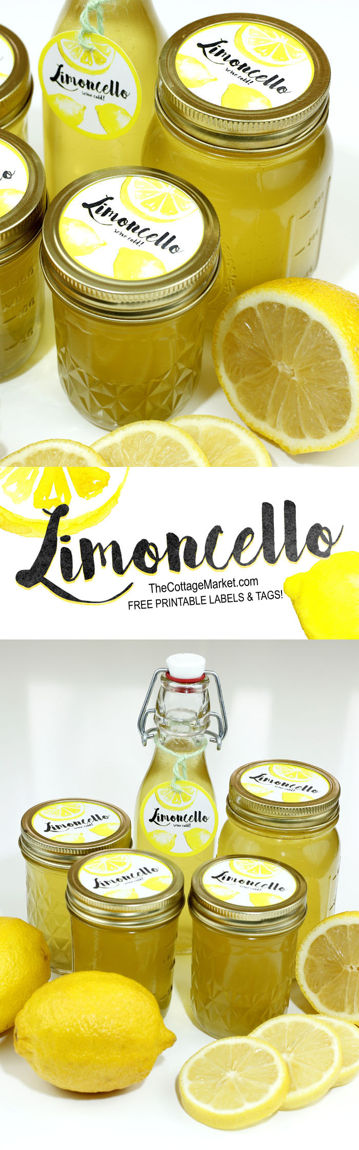 Use these free label printables to customize your homemade limoncello.