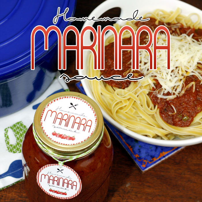 Homemade Marinara Sauce with Free Printable Labels (gifts in jars)
