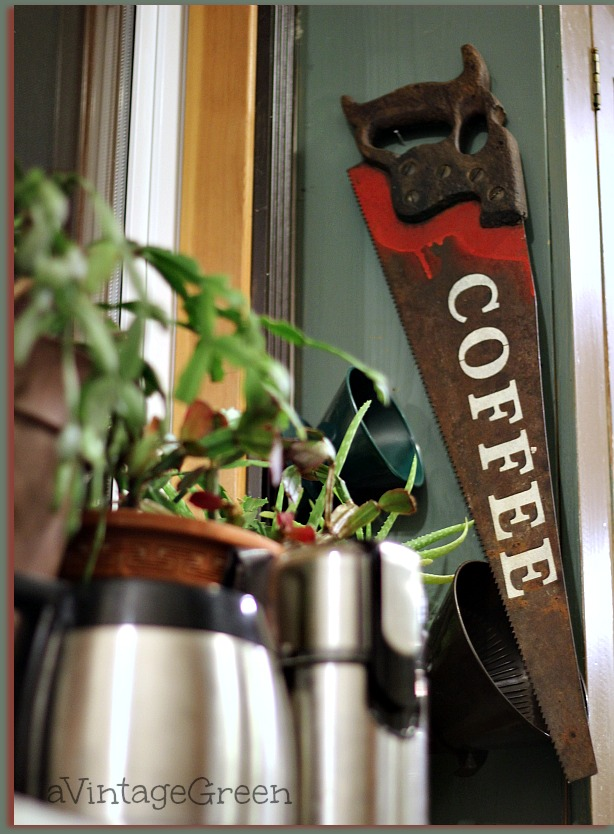 Coffee Sign on Vintage Saw