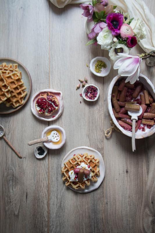 ricotta-waffles-with-rose-pomegranate-roasted-rhubarb-1-20-533x800