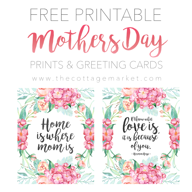 picture about Printable Mothers Day Pictures referred to as Totally free Printable Moms Working day Prints and Playing cards The Cottage