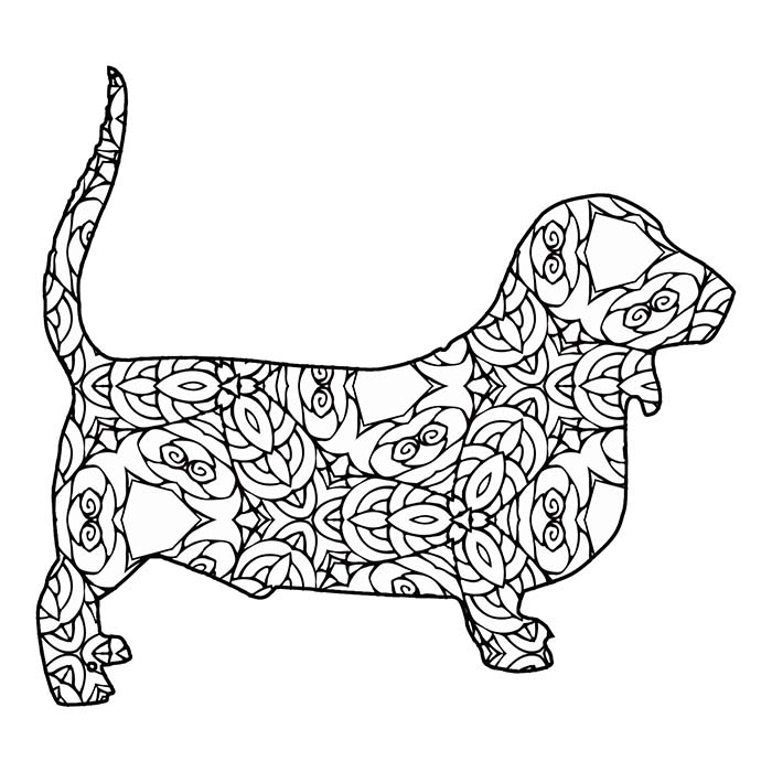 This printable geometric basset hound is a fun coloring page.