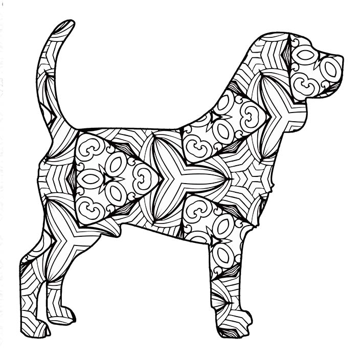 This printable geometric beagle has lots of fun lines and shapes.