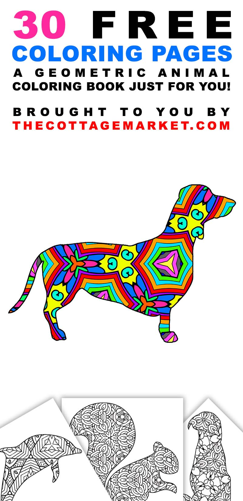 30 Free Printable Geometric Animal Coloring Pages | The Cottage Market
