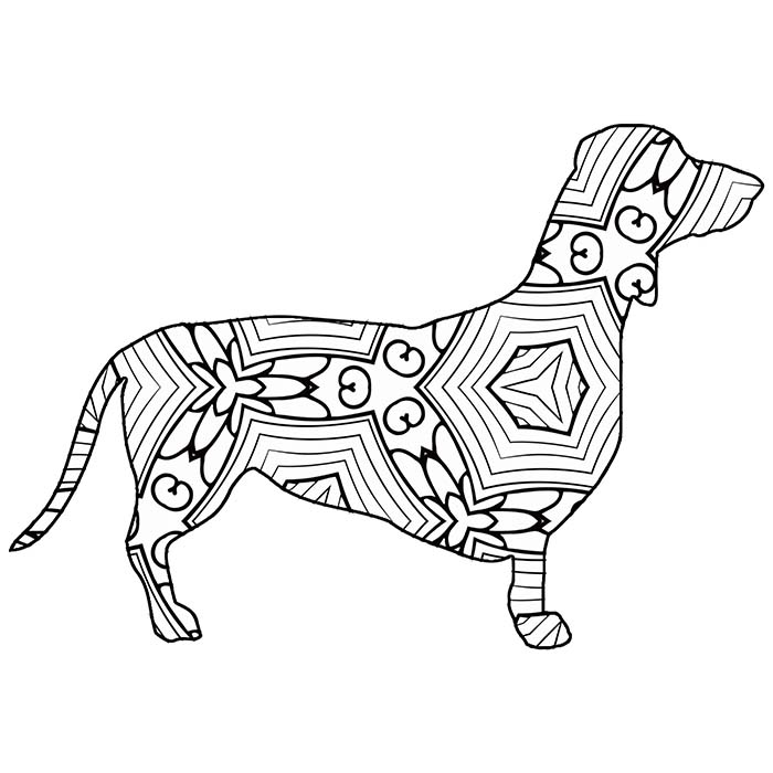 This printable geometric dachshund is a fun coloring page.