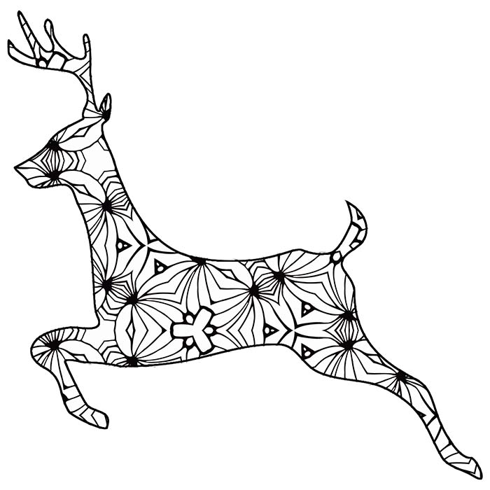 This free printable deer outline is a fun geometric coloring page.