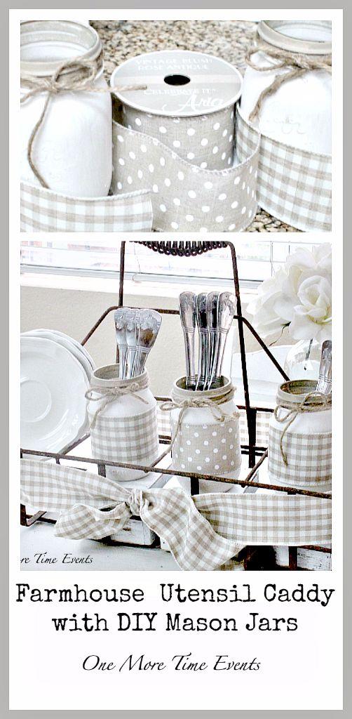 Farmhouse-Utensil-Caddy-with-DIY-Mason-Jars