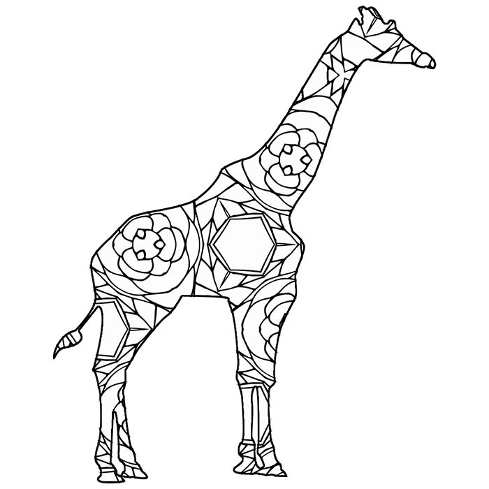 This geometric giraffe is a free printable coloring page.
