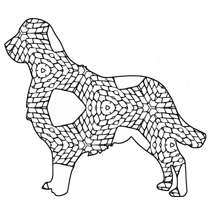 This geometric golden retriever is a fun graphic to color in.
