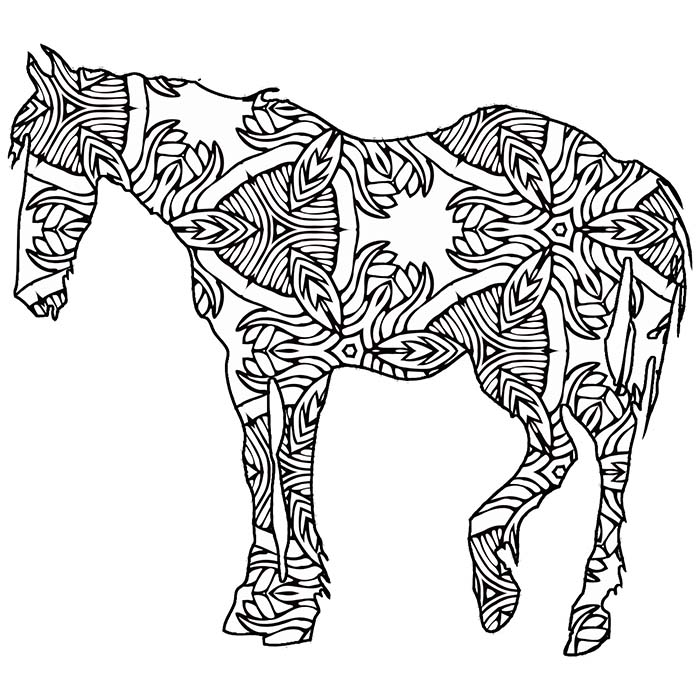 This geometric horse has lots of lines and shapes to color in.