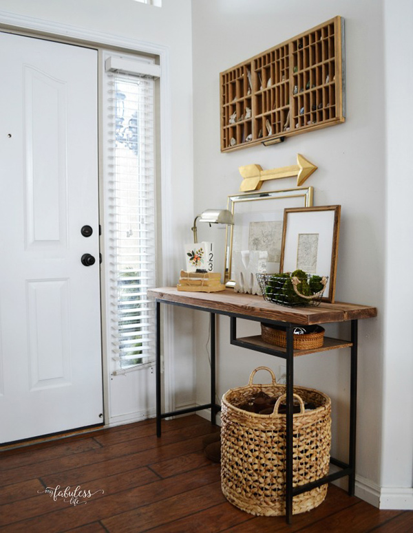 This IKEA desk was transformed into a rustic farmhouse entryway table