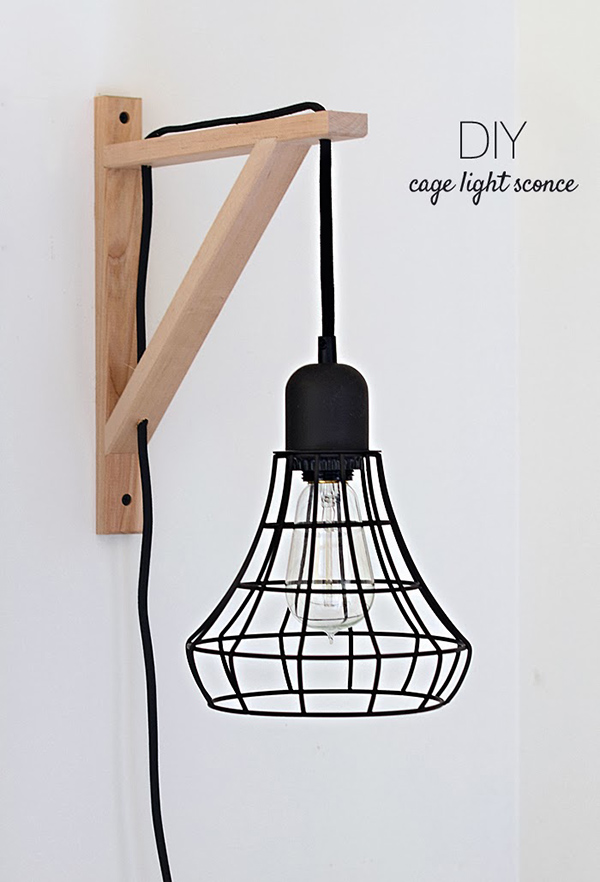 This gorgeous industrial sconce was once just a simple IKEA pendant light