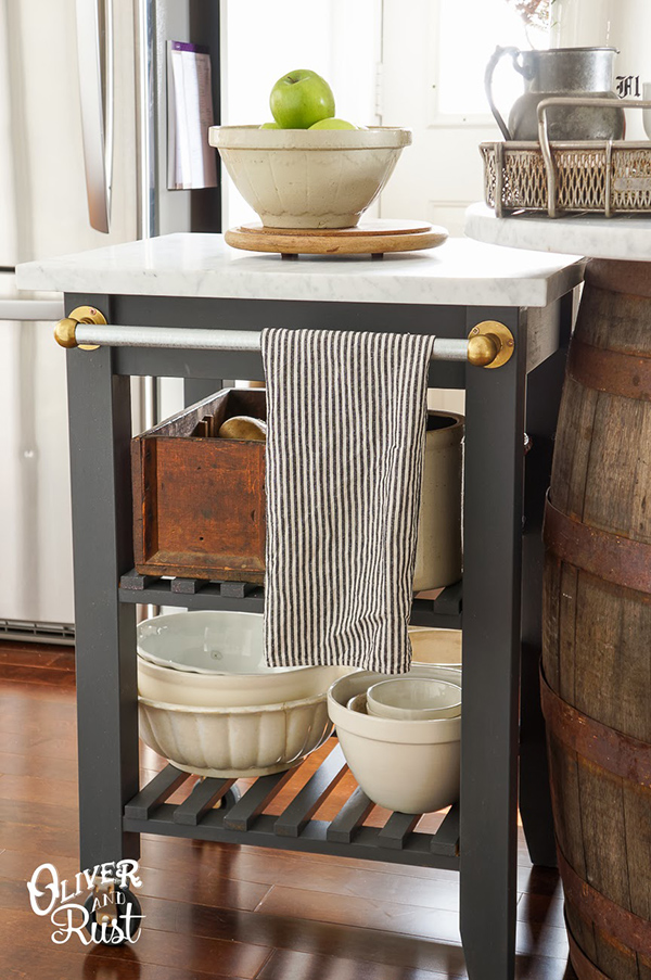 This IKEA kitchen cart added functional counter space to this small kitchen