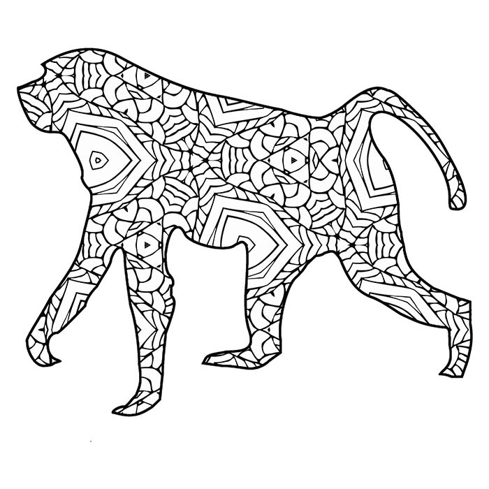 This printable geometric monkey makes for a fun coloring activity.