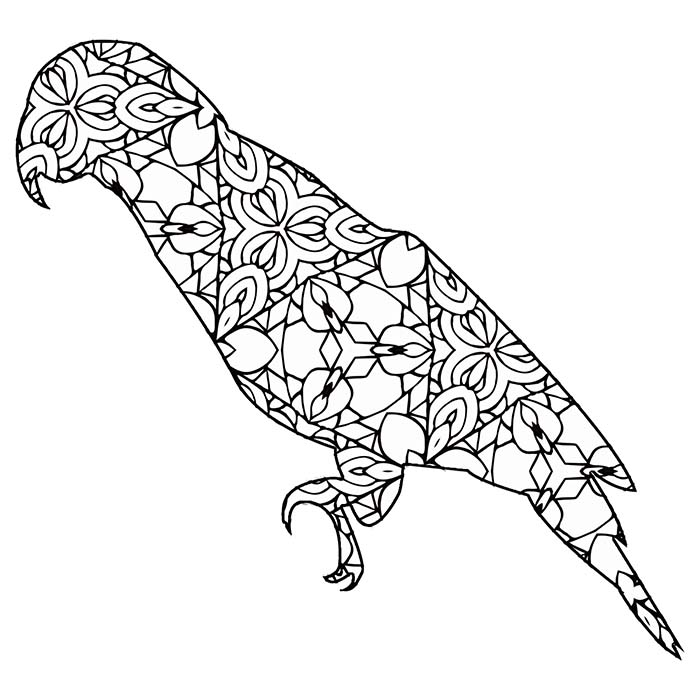 This printable geometric parrot graphic is a fun coloring page.